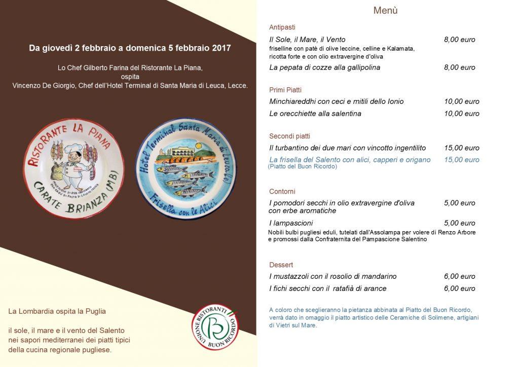 menu Lombaria Puglia gemellaggio buon ricordo