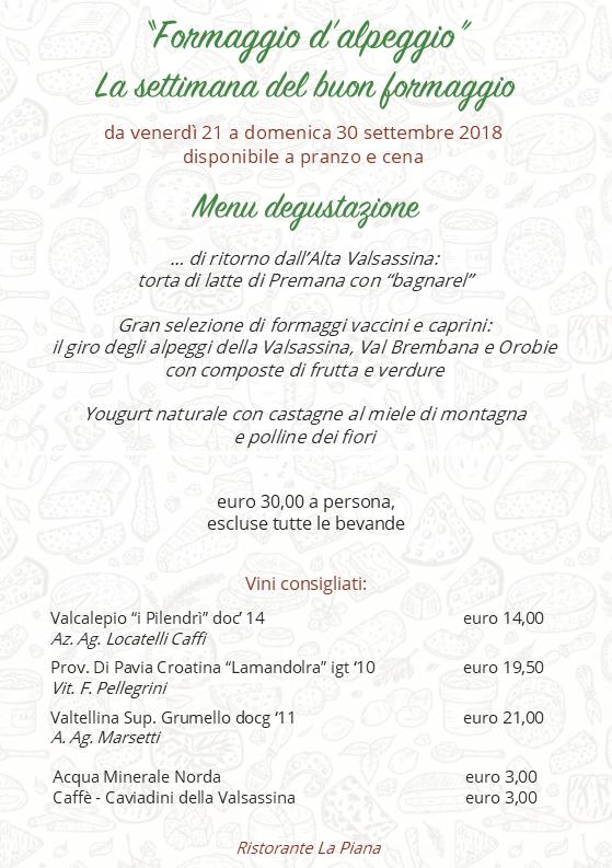 locandina menu degustazione formaggio alpeggio 2018