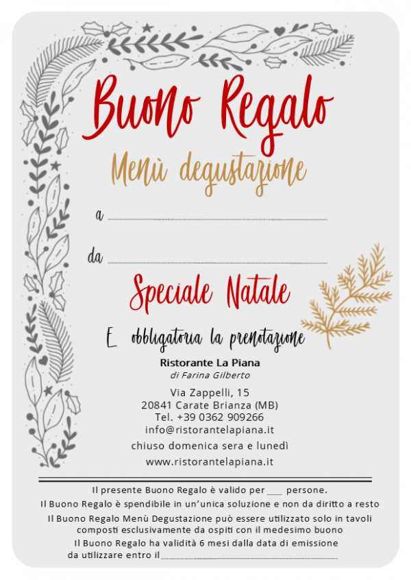 buono regalo menu degustazione speciale natale 2018